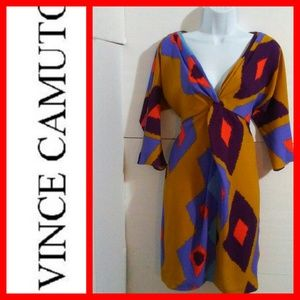 VINCE CAMUTO Mustard/Purple Dress Size 4